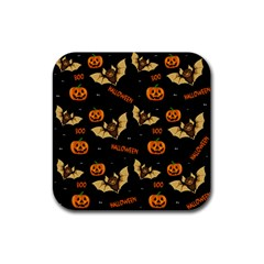 Bat, Pumpkin And Spider Pattern Rubber Square Coaster (4 Pack)  by Valentinaart