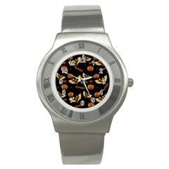 Bat, Pumpkin And Spider Pattern Stainless Steel Watch by Valentinaart