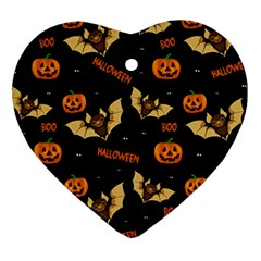 Bat, Pumpkin And Spider Pattern Heart Ornament (two Sides) by Valentinaart