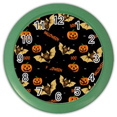 Bat, Pumpkin And Spider Pattern Color Wall Clocks by Valentinaart