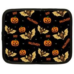 Bat, Pumpkin And Spider Pattern Netbook Case (xxl)  by Valentinaart