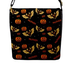 Bat, Pumpkin And Spider Pattern Flap Messenger Bag (l)  by Valentinaart