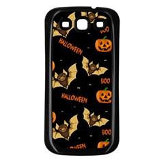 Bat, Pumpkin And Spider Pattern Samsung Galaxy S3 Back Case (black) by Valentinaart