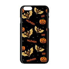 Bat, Pumpkin And Spider Pattern Apple Iphone 6/6s Black Enamel Case by Valentinaart