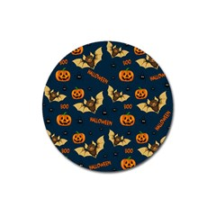 Bat, Pumpkin And Spider Pattern Magnet 3  (round) by Valentinaart