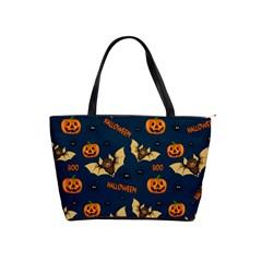 Bat, Pumpkin And Spider Pattern Shoulder Handbags by Valentinaart