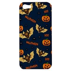 Bat, Pumpkin And Spider Pattern Apple Iphone 5 Hardshell Case by Valentinaart
