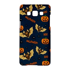 Bat, Pumpkin And Spider Pattern Samsung Galaxy A5 Hardshell Case  by Valentinaart
