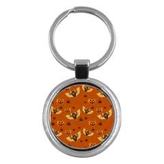Bat, Pumpkin And Spider Pattern Key Chains (round)  by Valentinaart