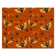 Bat, Pumpkin And Spider Pattern Rectangular Jigsaw Puzzl by Valentinaart