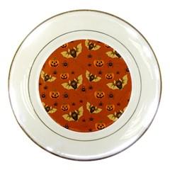 Bat, Pumpkin And Spider Pattern Porcelain Plates by Valentinaart
