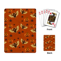 Bat, Pumpkin And Spider Pattern Playing Card by Valentinaart