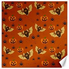 Bat, Pumpkin And Spider Pattern Canvas 16  X 16   by Valentinaart