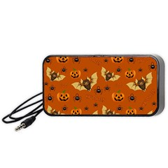 Bat, Pumpkin And Spider Pattern Portable Speaker (black) by Valentinaart