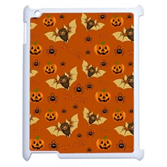 Bat, Pumpkin And Spider Pattern Apple Ipad 2 Case (white) by Valentinaart