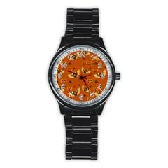 Bat, Pumpkin And Spider Pattern Stainless Steel Round Watch by Valentinaart