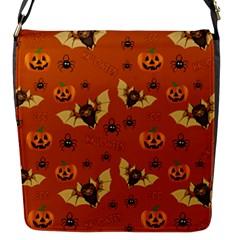 Bat, Pumpkin And Spider Pattern Flap Messenger Bag (s) by Valentinaart