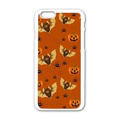 Bat, Pumpkin And Spider Pattern Apple Iphone 6/6s White Enamel Case by Valentinaart