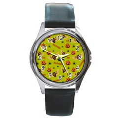 Bat, Pumpkin And Spider Pattern Round Metal Watch by Valentinaart