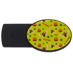 Bat, Pumpkin And Spider Pattern Usb Flash Drive Oval (4 Gb) by Valentinaart