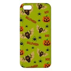 Bat, Pumpkin And Spider Pattern Apple Iphone 5 Premium Hardshell Case by Valentinaart