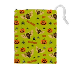 Bat, Pumpkin And Spider Pattern Drawstring Pouches (extra Large) by Valentinaart