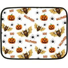 Bat, Pumpkin And Spider Pattern Fleece Blanket (mini) by Valentinaart