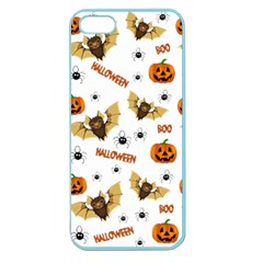 Bat, Pumpkin And Spider Pattern Apple Seamless Iphone 5 Case (color) by Valentinaart