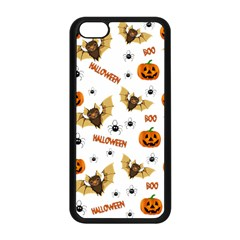 Bat, Pumpkin And Spider Pattern Apple Iphone 5c Seamless Case (black) by Valentinaart