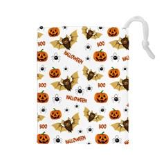 Bat, Pumpkin And Spider Pattern Drawstring Pouches (large)  by Valentinaart