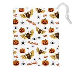 Bat, Pumpkin And Spider Pattern Drawstring Pouches (xxl) by Valentinaart