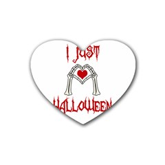 I Just Love Halloween Rubber Coaster (heart)  by Valentinaart