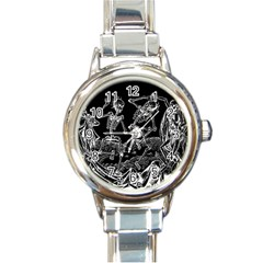 Skeletons   Halloween Round Italian Charm Watch by Valentinaart