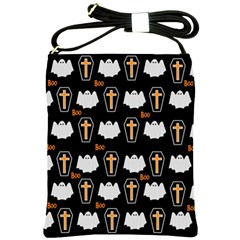 Ghost And Chest Halloween Pattern Shoulder Sling Bags by Valentinaart