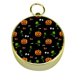 Pumpkins   Halloween Pattern Gold Compasses by Valentinaart