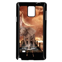 Cute Baby Elephant On A Jetty Samsung Galaxy Note 4 Case (black) by FantasyWorld7