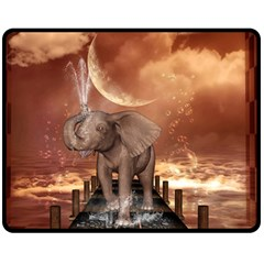 Cute Baby Elephant On A Jetty Double Sided Fleece Blanket (medium)  by FantasyWorld7