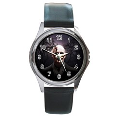 Zombie Round Metal Watch by Valentinaart