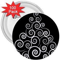 Abstract Spiral Christmas Tree 3  Buttons (100 Pack)  by Mariart