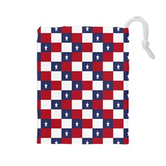 American Flag Star White Red Blue Drawstring Pouches (large)  by Mariart