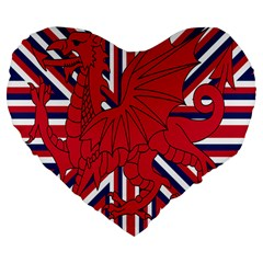 Alternatively Mega British America Red Dragon Large 19  Premium Flano Heart Shape Cushions by Mariart