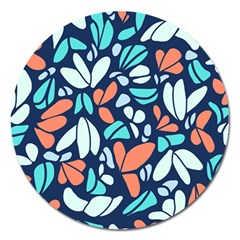 Blue Tossed Flower Floral Magnet 5  (round) by Mariart
