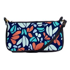 Blue Tossed Flower Floral Shoulder Clutch Bags by Mariart