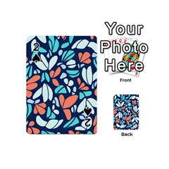 Blue Tossed Flower Floral Playing Cards 54 (mini)  by Mariart