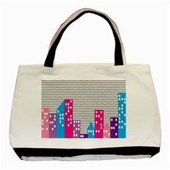 Building Polka City Rainbow Basic Tote Bag (two Sides) by Mariart
