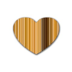Brown Verticals Lines Stripes Colorful Heart Coaster (4 Pack)  by Mariart