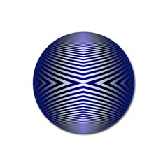 Blue Lines Iterative Art Wave Chevron Magnet 3  (round) by Mariart