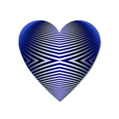 Blue Lines Iterative Art Wave Chevron Heart Magnet by Mariart
