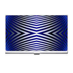 Blue Lines Iterative Art Wave Chevron Business Card Holders by Mariart