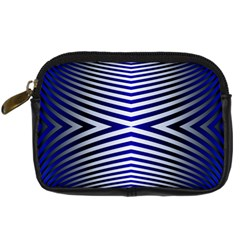 Blue Lines Iterative Art Wave Chevron Digital Camera Cases by Mariart